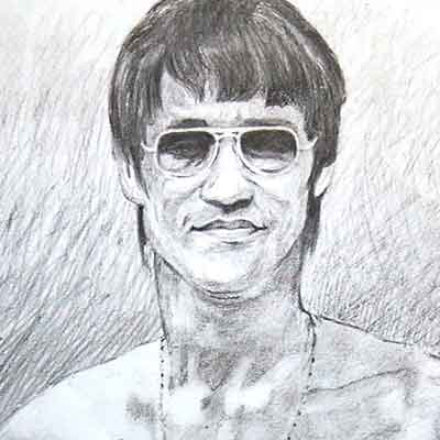 Sketch of Bruce Lee by BFA Fine Arts Students